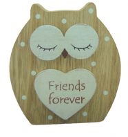 'FRIENDS FOREVER' DREAMY WOODEN STANDING OWL GREAT GIFT  DAY FRIENDS....